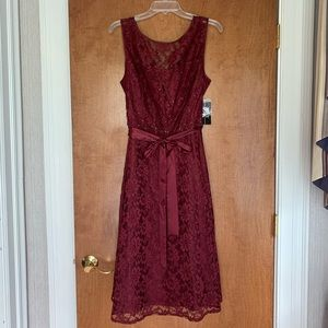 SLNY Burgundy Lace Dress with Beaded detail